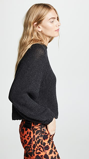 R13 Balloon Sleeve Cashmere Crew Neck Sweater
