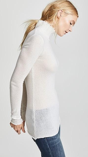 R13 Distressed Skinny Cashmere Turtleneck