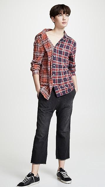 R13 Off Shoulder Plaid Combo Shirt