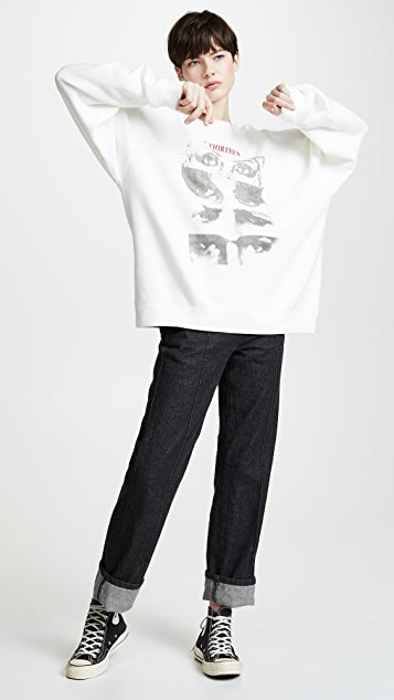 R13 13 Eyes Crew Neck Sweatshirt