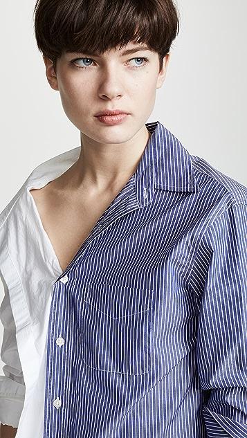 R13 Комбинированная рубашка в полоску с открытыми плечами
