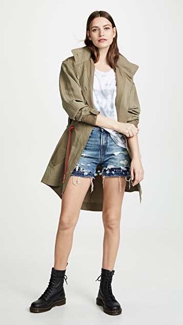 R13 Double Hem Slouch Shorts