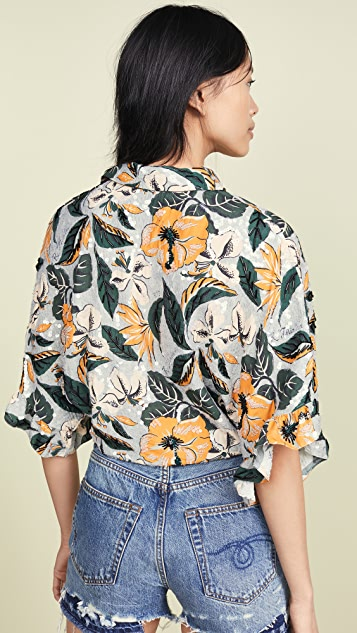 R13 Гавайская рубашка с завязками спереди