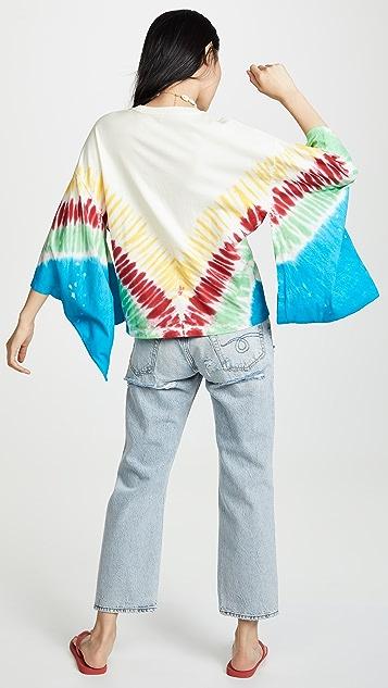 R13 Tops Tie Dye Kimono Sleeve Tee