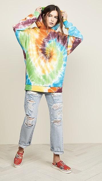 R13 Sequined Tie Dye Rainbow Hoodie