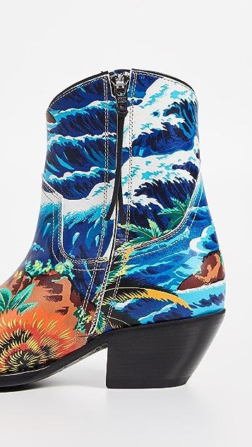 R13 Hawaiian Print Ankle Cowboy Boots