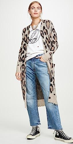 R13 - Long Leopard Cashmere Cardigan