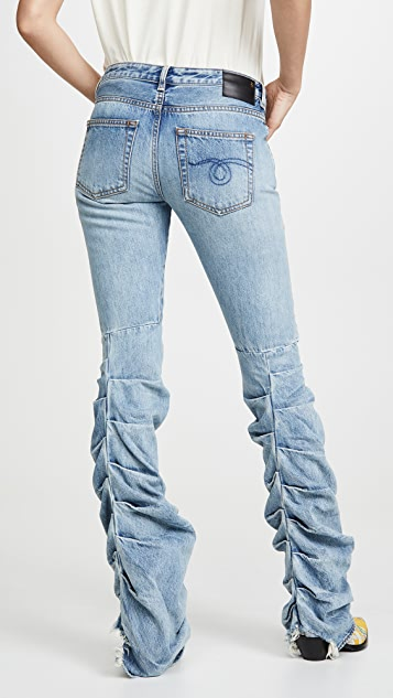 R13 Shirring Boy Boot Jeans
