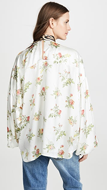 R13 领口系带女式衬衫
