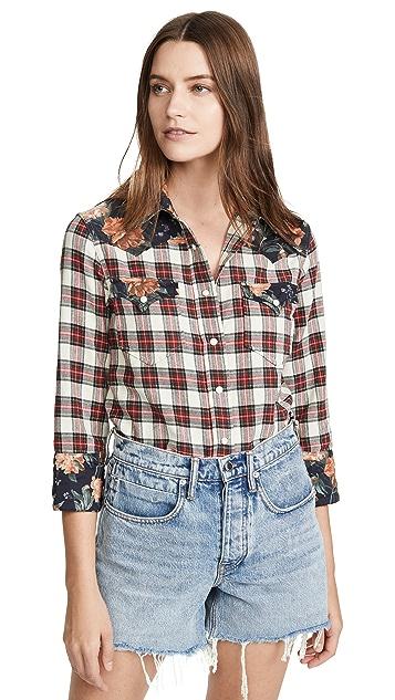 R13 Ковбойская рубашка с крупным воротником