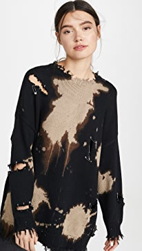 Bleached Distressed Crew Neck Sweater