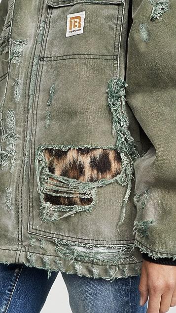 R13 复古御寒衍缝衬里夹克