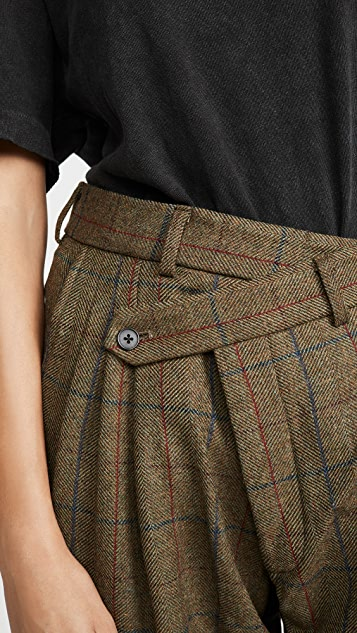 R13 Triple Pleat Crossover Trousers