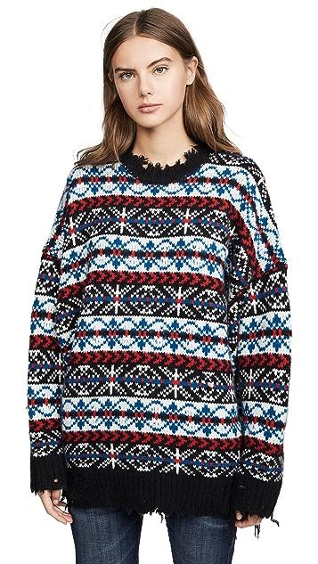 R13 Oversized Fair Isle Cashmere Sweater