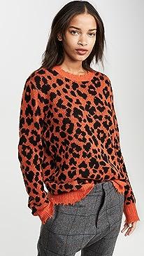 Orange Leopard Cashmere Sweater