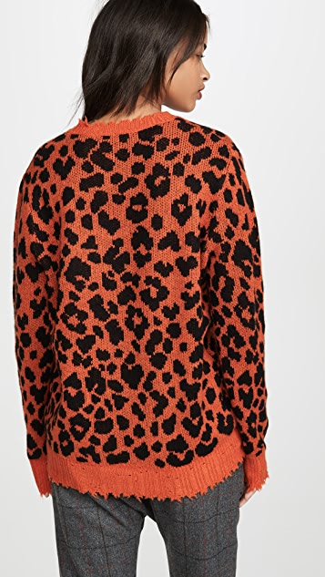 R13 Orange Leopard Cashmere Sweater