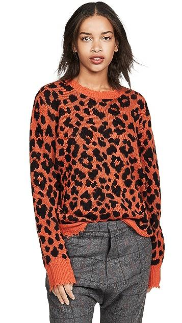 R13 橙色豹纹开司米羊绒毛衣