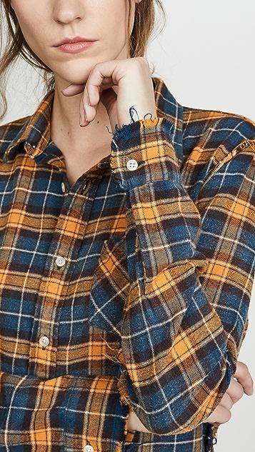 R13 Прошитая рубашка с прорехами