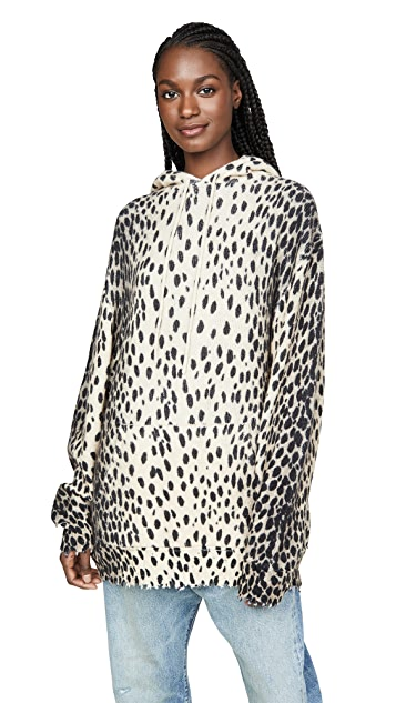 R13 豹纹开司米羊绒连帽上衣