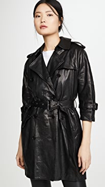 Leather 3/4 Sleeve Trench