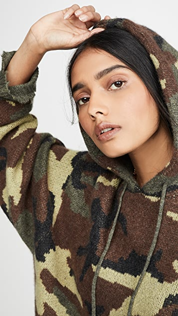 R13 Camo Cashmere Hoodie Sweater