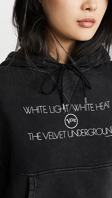 R13 Velvet Underground White Light Cropped Hoodie