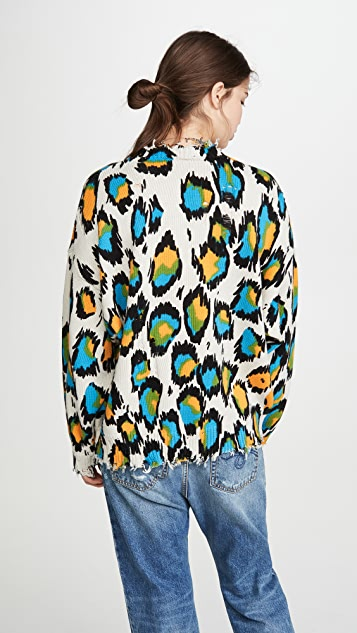 R13 Multicolor Leopard Sweater