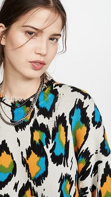 R13 Разноцветный свитер с леопардовым принтом