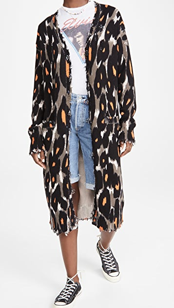 R13 Long Cotton Leopard Cardigan