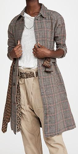 R13 - 双层腰带七分袖大衣