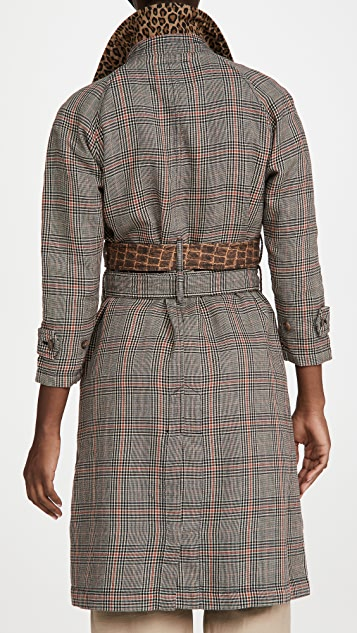 R13 3/4 Sleeve Coat With Double Belt