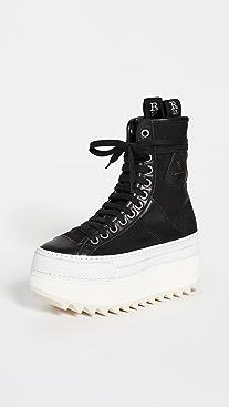 R13 Tall Platform Nylon Winter High Top Sneakers