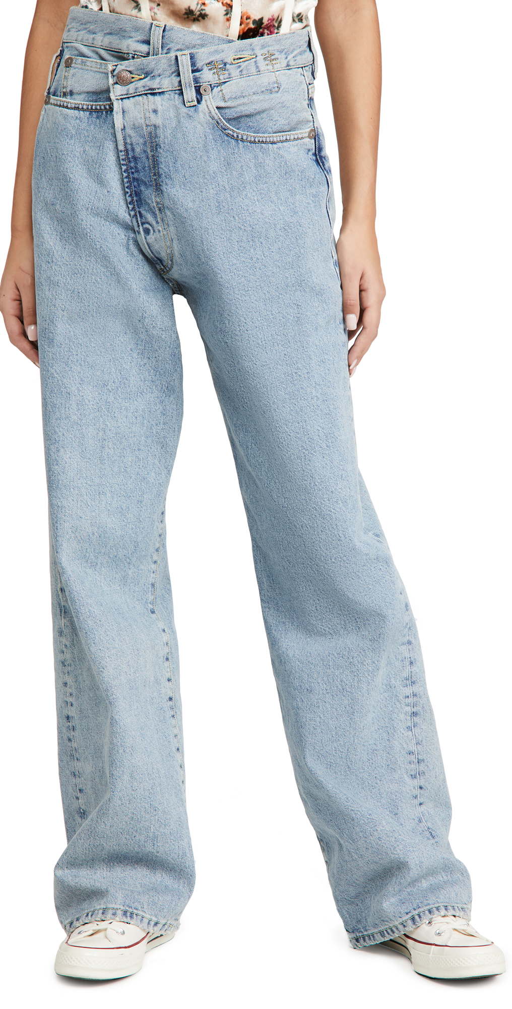 R13 Wide Leg Cross Over Jeans