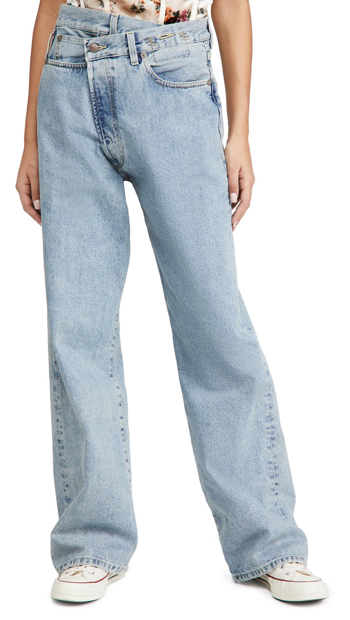 R13 Wide Leg Cross Over Jeans