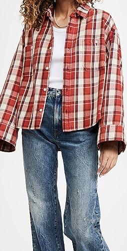 R13 - Oversized Sleeve Cropped Shirt