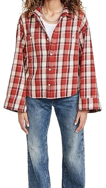 R13 Oversized Sleeve Cropped Shirt
