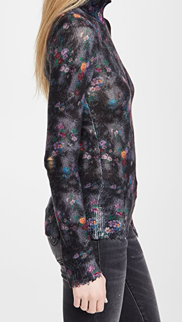 R13 花卉印花开司米羊绒紧身高领上衣
