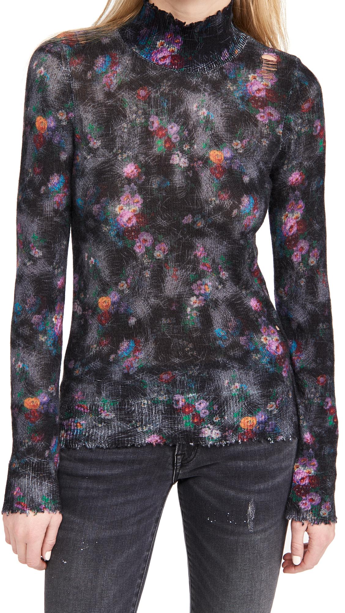 R13 Skinny Floral Cashmere Turtleneck