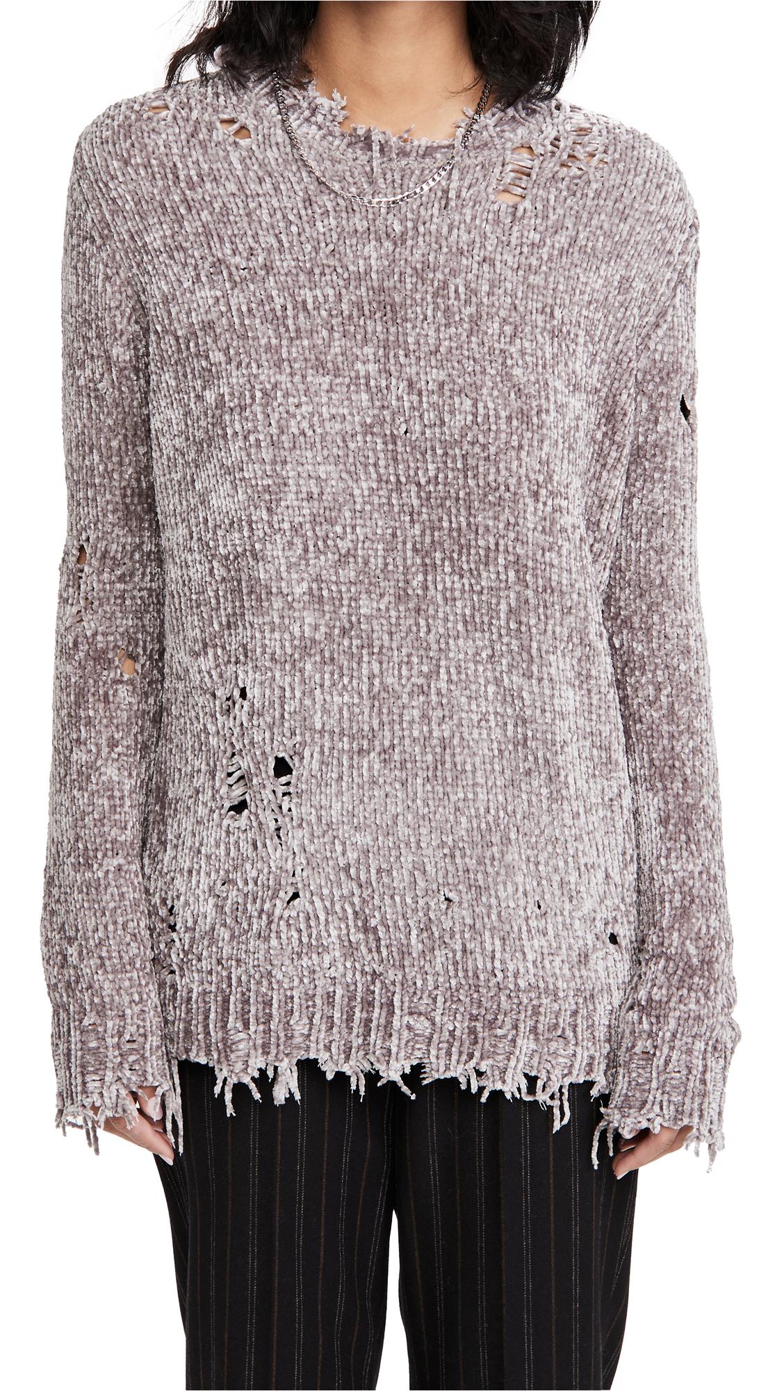 R13 Distressed Chenille Crew Neck Sweater