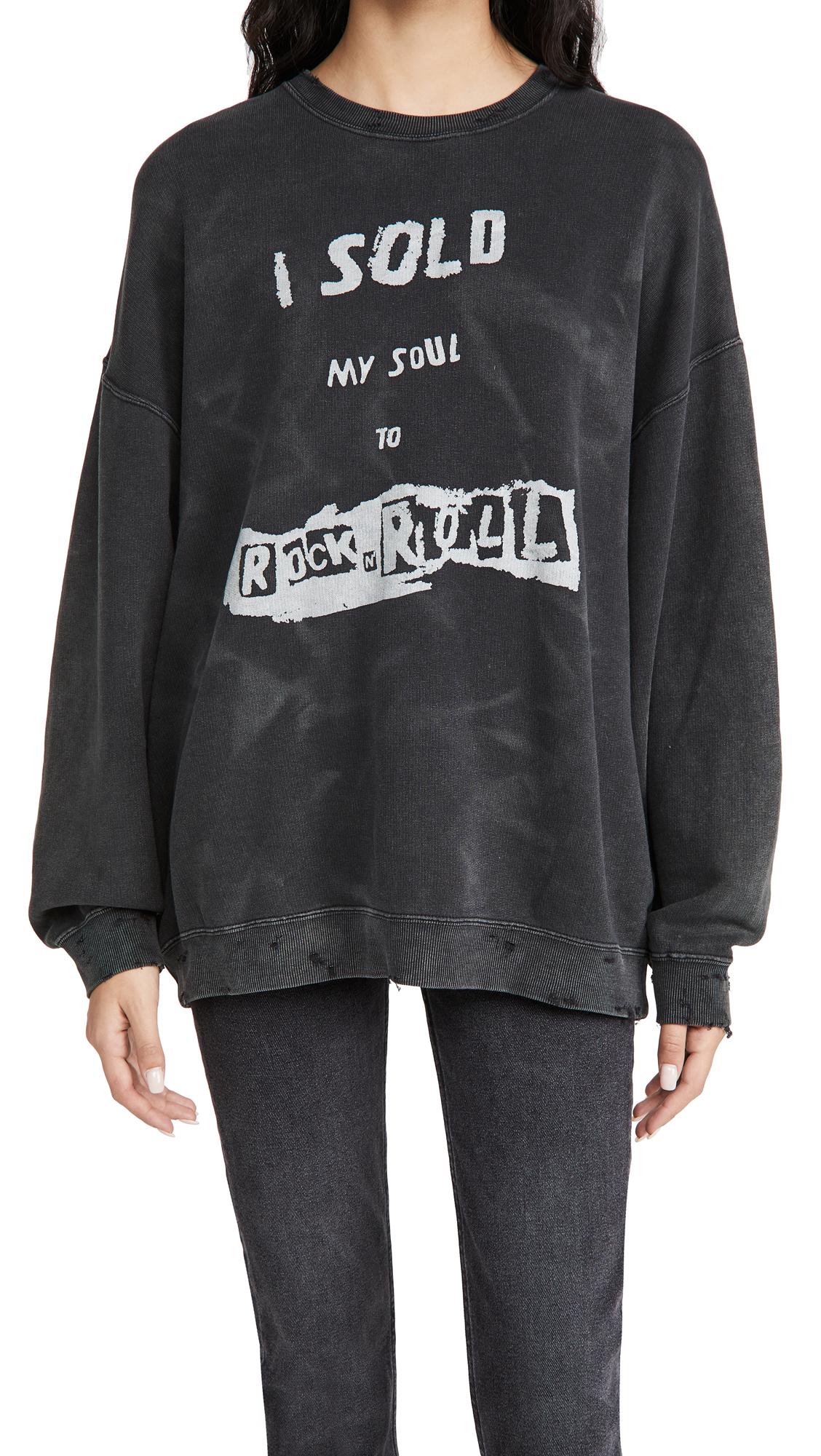 R13 I Sold My Soul Oversized Crew Neck Sweatshirt