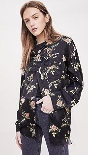 R13 黑色花卉宽大衬衫