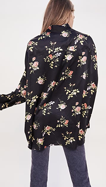 R13 Black Floral Oversized Shirt