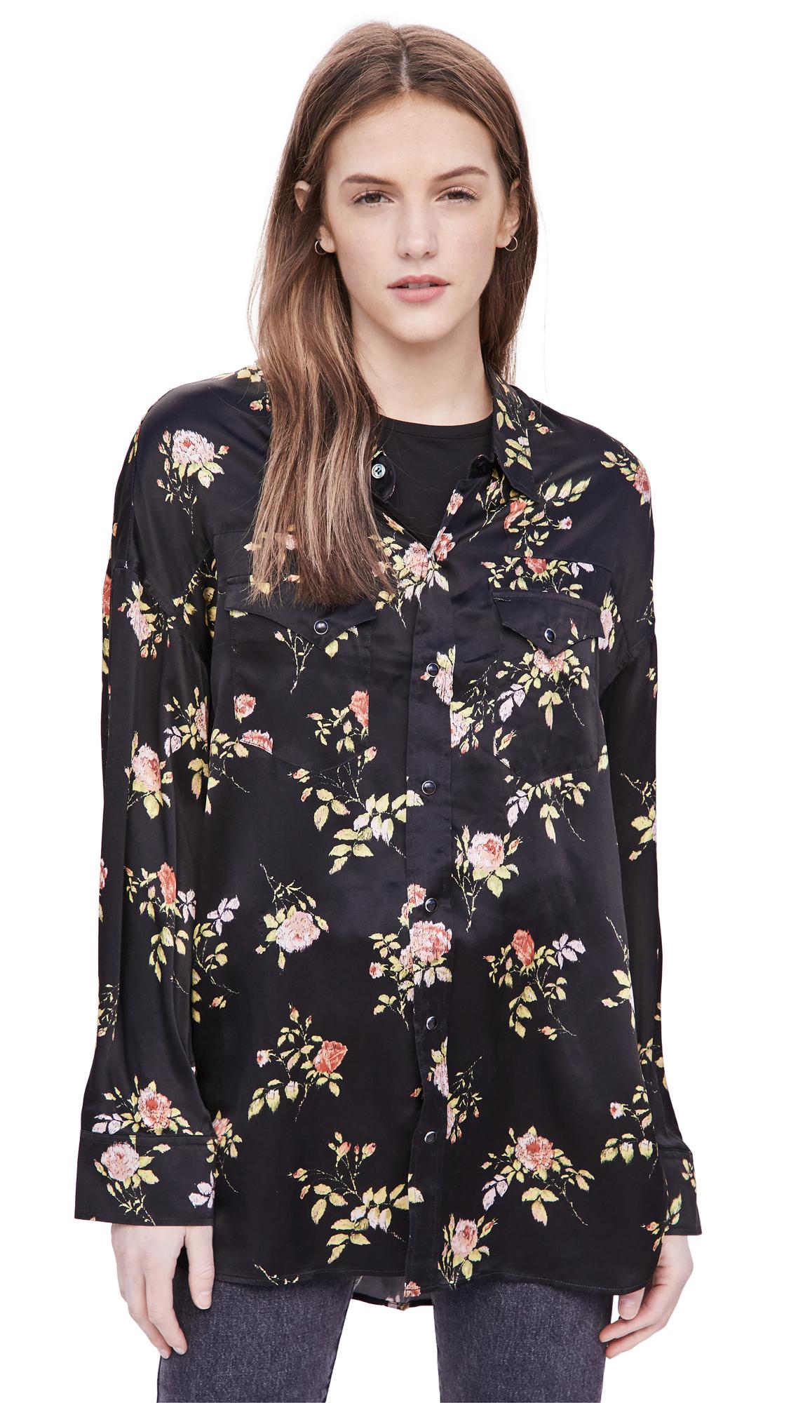 R13 Black Floral Oversized Shirt