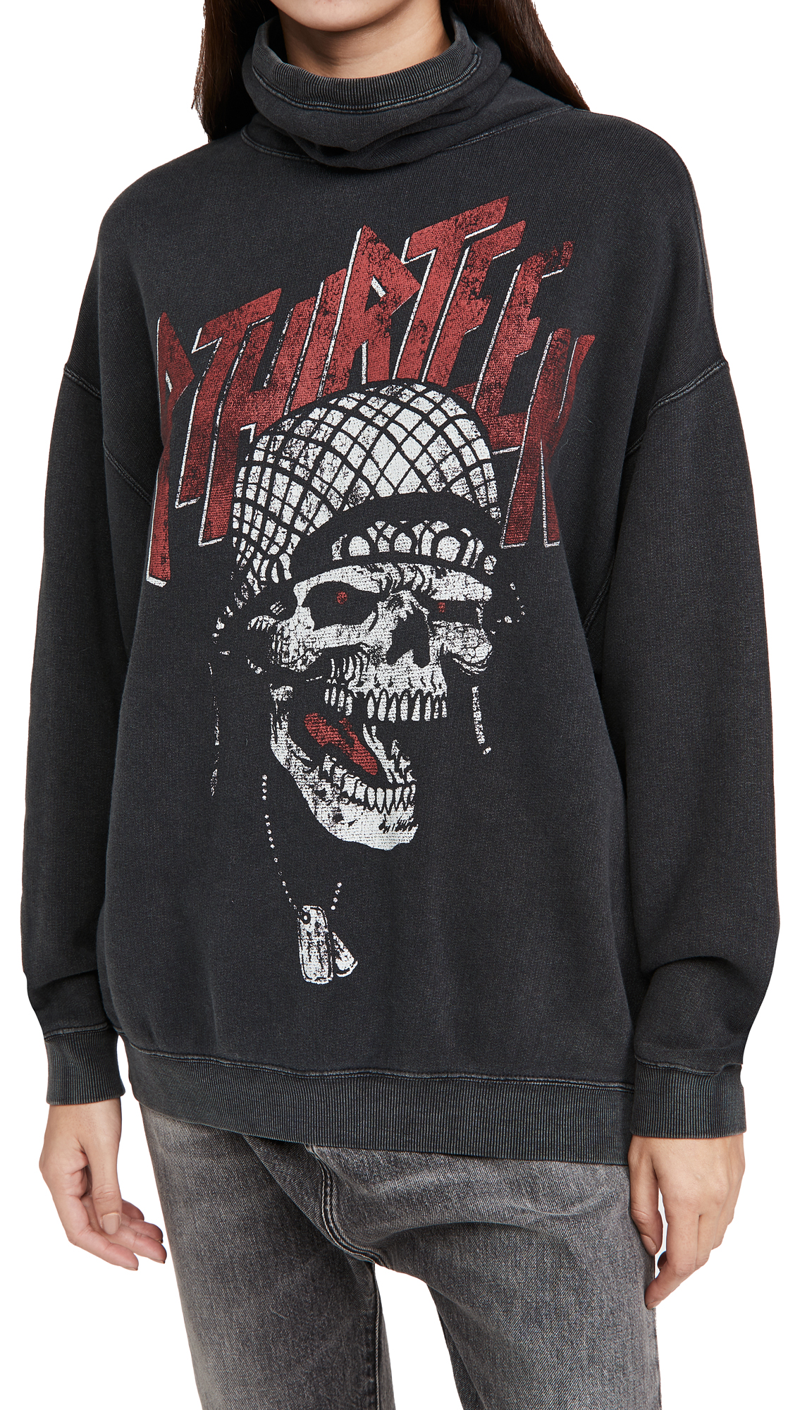 R13 #MaskUp Battle Punk Vintage Fleece Crew Sweatshirt