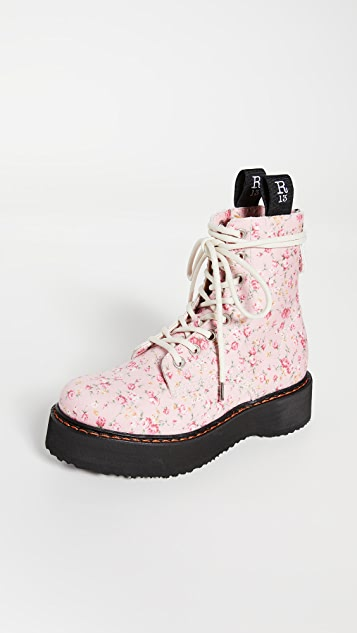 R13 Single Stack Lace Up Boots
