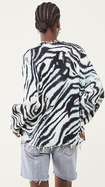 R13 蓝色斑马宽大毛衣