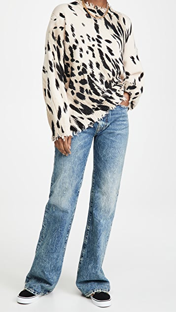R13 Cheetah Oversized Crew Neck Sweater