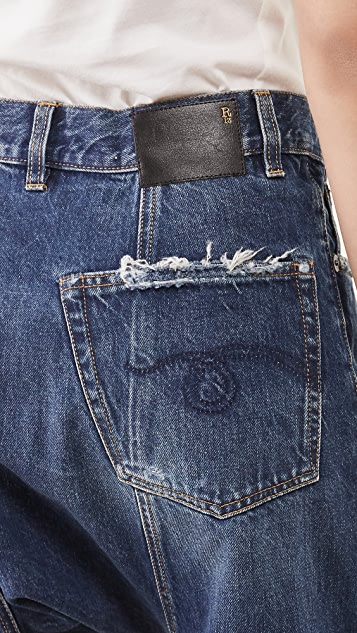 R13 Pleated Drop Jeans