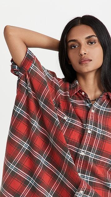 R13 Plaid Oversized Boxy Shirtdress