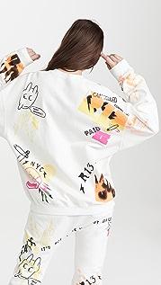 R13 Graffiti Oversized Crew Neck Sweatshirt